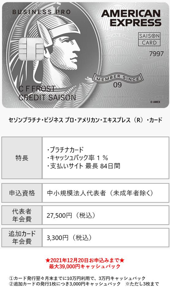 セゾンプラチナ・ビジネス プロ・アメリカン・エキスプレス(R)・カード